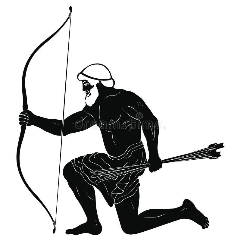 Guerriero del greco antico illustrazione vettoriale