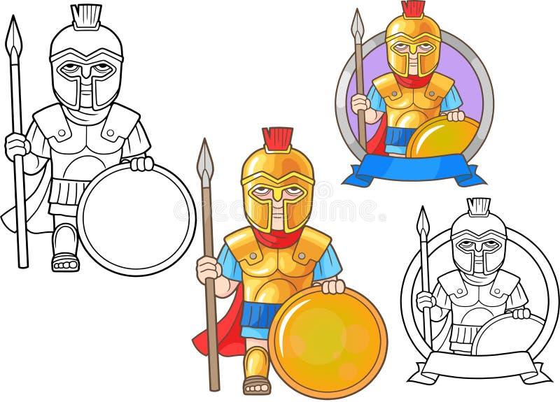 Guerriero dell'insieme di Grecia antica delle immagini illustrazione vettoriale