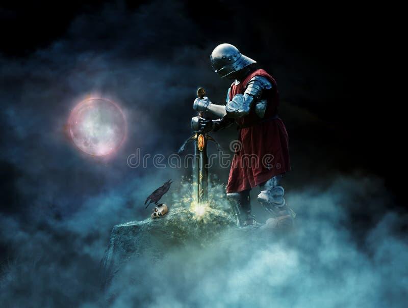 Guerriero di fantasia che tira spada da roccia illustrazione vettoriale