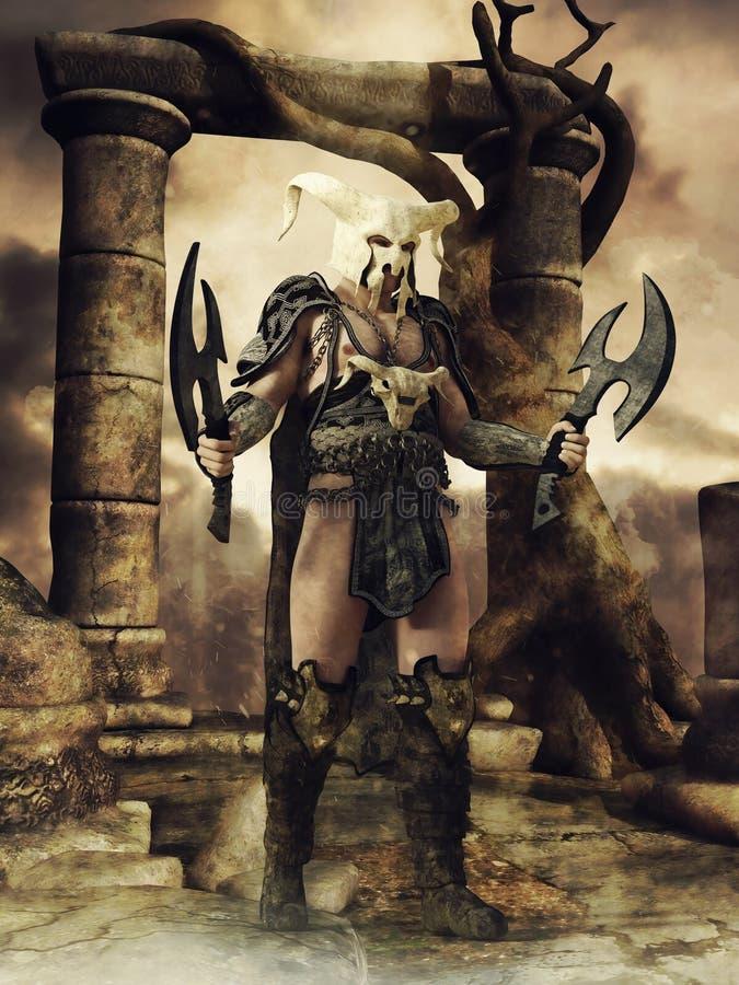 Guerriero di fantasia in un casco dell'osso royalty illustrazione gratis