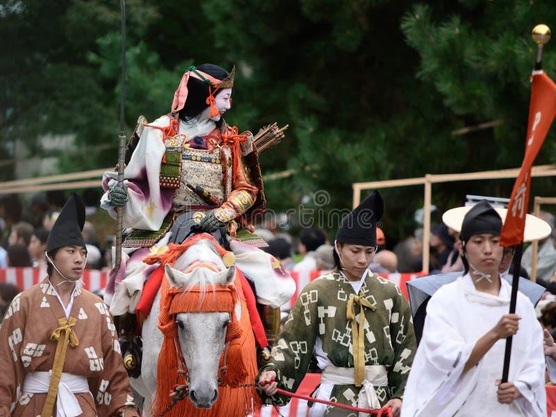 Guerriero femminile alla parata di Jidai Matsuri, Giappone del samurai fotografia stock libera da diritti