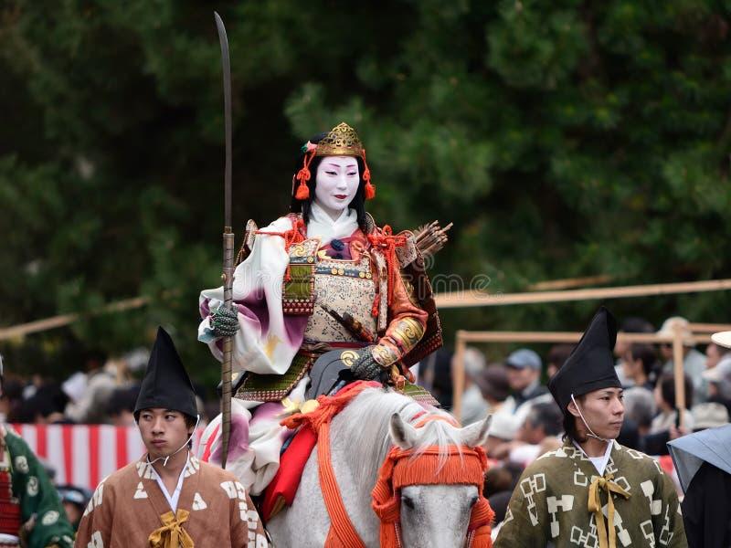 Guerriero femminile alla parata di Jidai Matsuri, Giappone del samurai fotografia stock