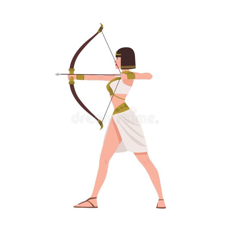 Guerriero femminile coraggioso da mitologia egiziana o da storia di egitto antico isolato su fondo bianco Bella donna illustrazione vettoriale