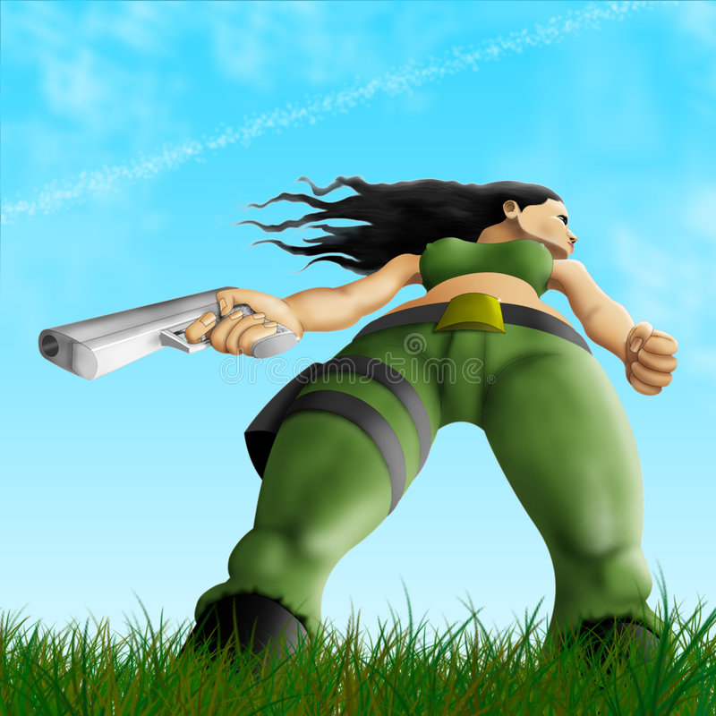 Download Guerriero Sessuale Nel Campo Illustrazione di Stock - Illustrazione di erba, commandos: 7300789