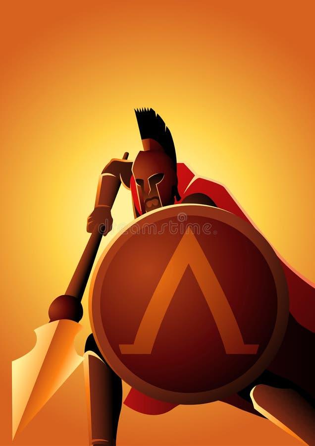Guerriero spartano con la suoi lancia e schermo royalty illustrazione gratis