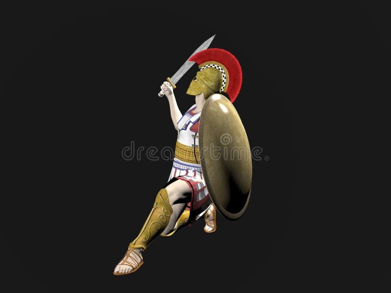 Guerriero spartano o romano greco illustrazione vettoriale