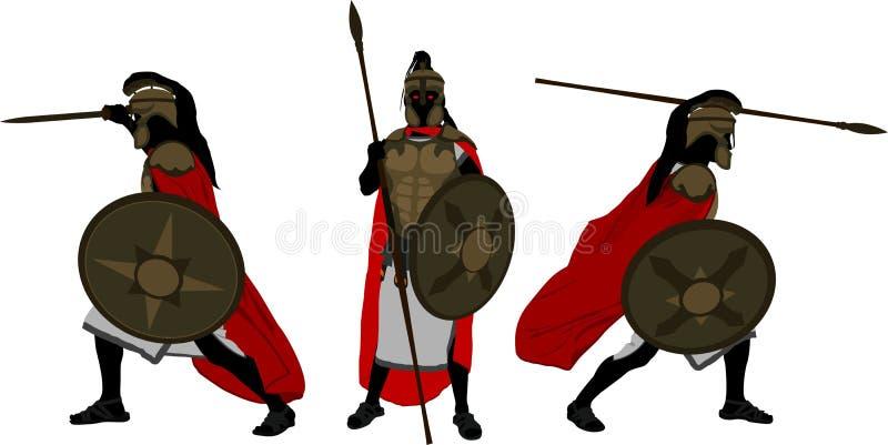 Guerriers antiques illustration de vecteur