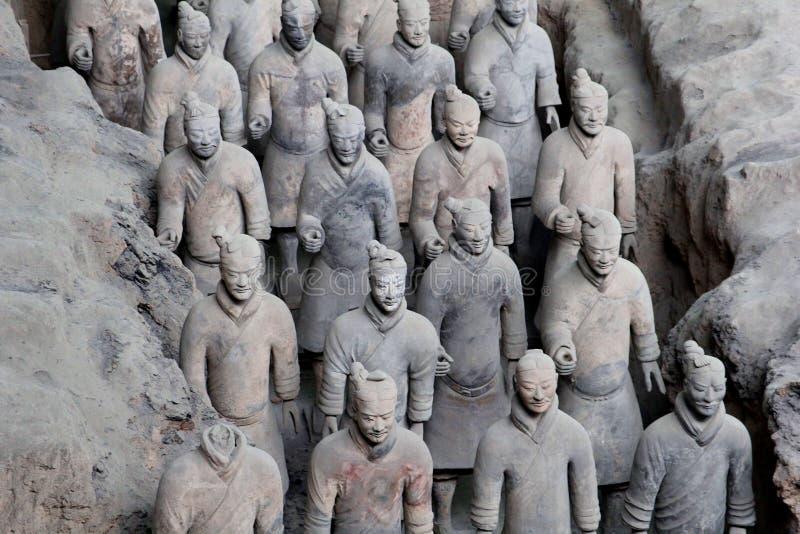 Guerriers antiques de terre cuite (l'UNESCO) à Xi'an, Chine photographie stock libre de droits