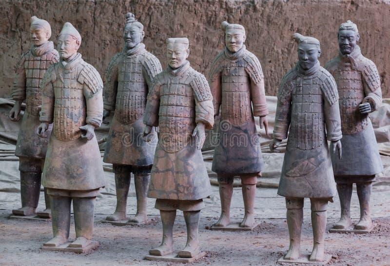 Guerriers d'armée célèbre de terre cuite en Xian China photographie stock libre de droits