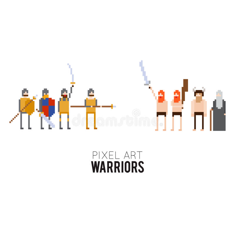 Guerriers de pixel illustration stock