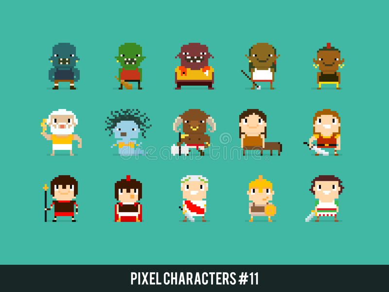 Guerriers de pixel illustration libre de droits
