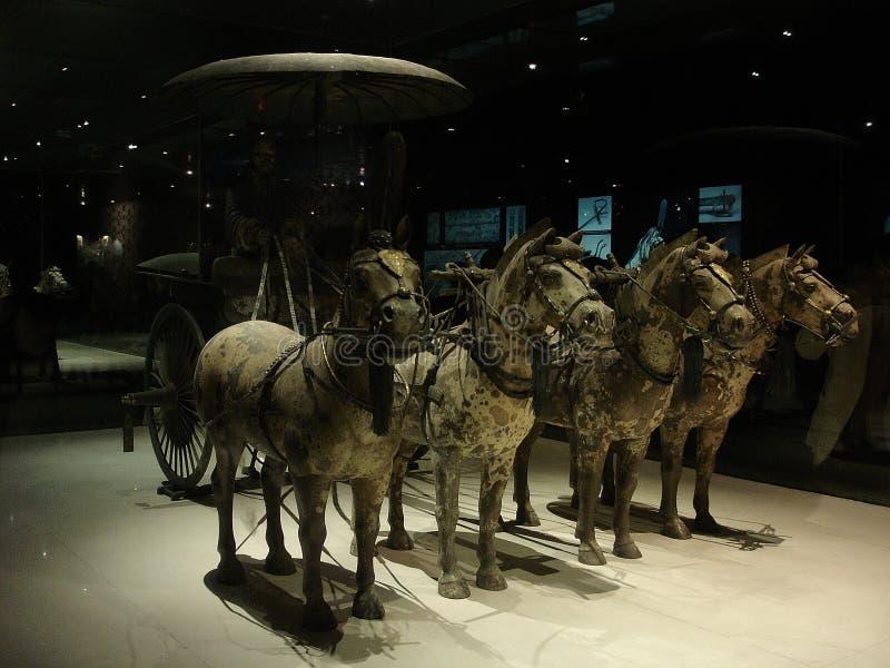 Guerriers et chevaux r non relié à la terre de la terre cuite de la Chine photos stock