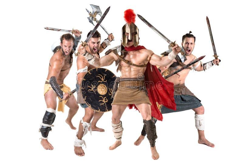 Guerriers/gladiateurs antiques images libres de droits