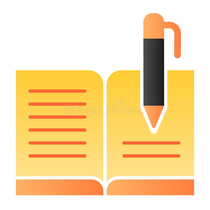 Guest book with pen flat icon. Registry book color icons in trendy flat style. Writing gradient style design, designed. For web and app. Eps 10 vector illustration