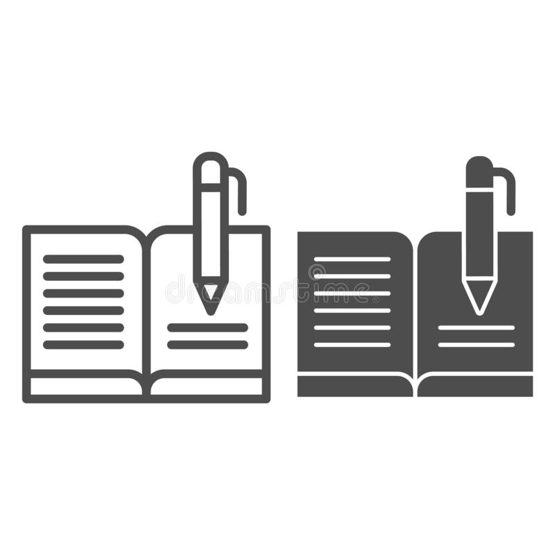 Guest book with pen line and glyph icon. Registry book vector illustration isolated on white. Writing outline style. Design, designed for web and app. Eps 10 royalty free illustration