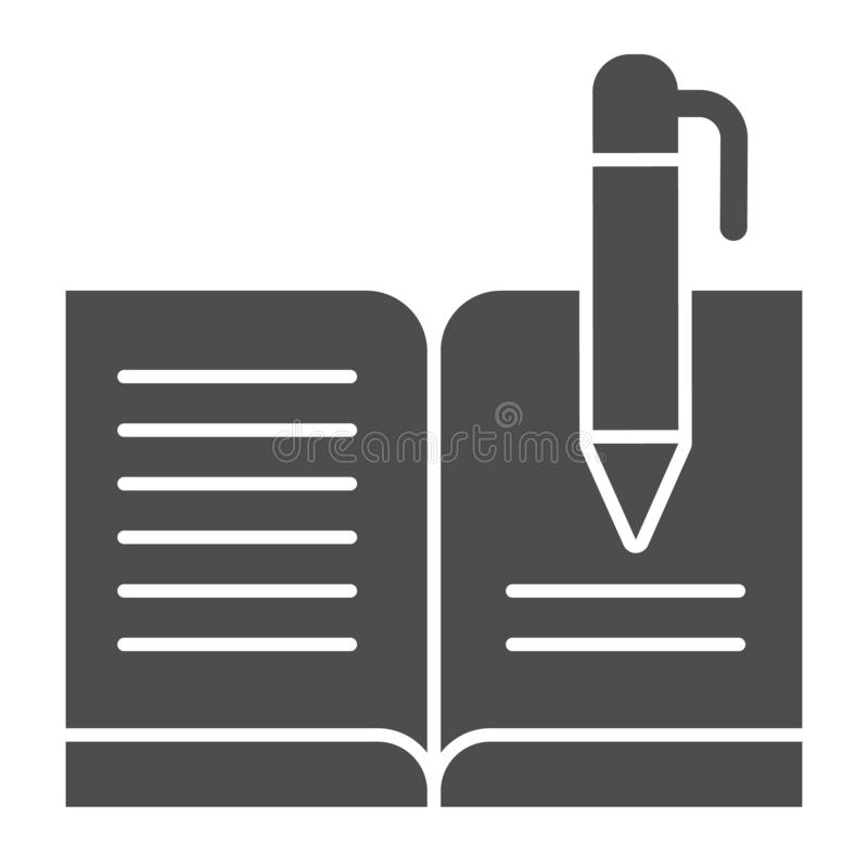 Guest book with pen solid icon. Registry book vector illustration isolated on white. Writing glyph style design. Designed for web and app. Eps 10 vector illustration