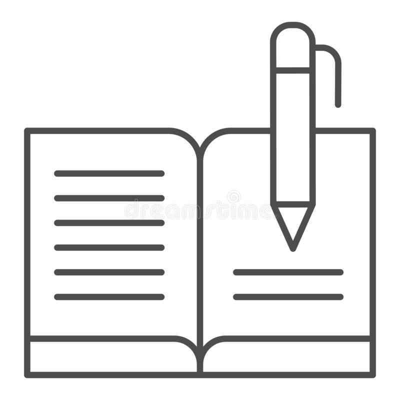 Guest book with pen thin line icon. Registry book vector illustration isolated on white. Writing outline style design. Designed for web and app. Eps 10 stock illustration