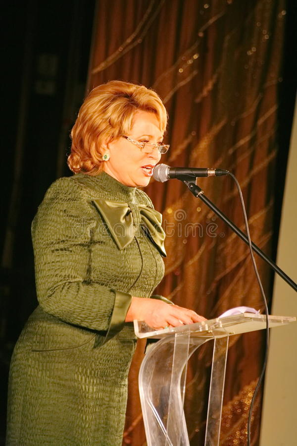 The guest of honor. Valentina Matvienko, one of the most famous contemporary female politicians. royalty free stock image