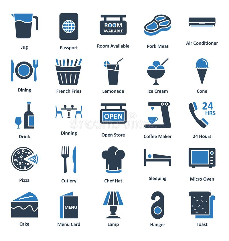 Guest House and Lodge Vector Icons Set that can be easily modified or edit stock illustration