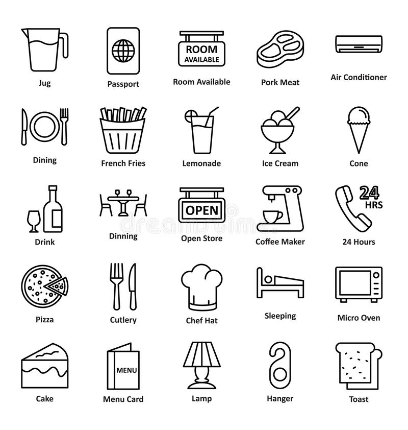 Guest House and Lodge Vector Icons Set that can be easily modified or edit royalty free illustration