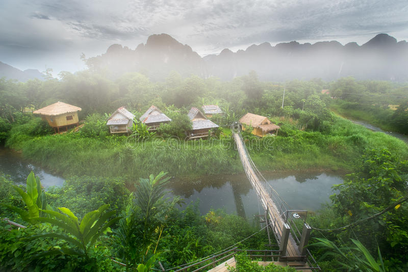 Guest house in nature beautiful scenery in Vang Vieng royalty free stock photos