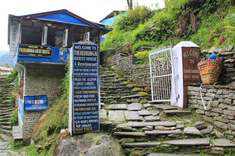 Guest house near Ghorepani, Nepal. Guest house on the tracking route to Ghorepani, Nepal. Ghorepani is a village in Myagdi District in the Dhawalagiri Zone of stock images