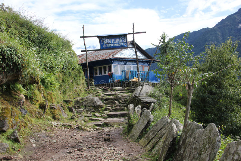 Guest house near Ghorepani, Nepal. Guest house on the tracking route to Ghorepani, Nepal. Ghorepani is a village in Myagdi District in the Dhawalagiri Zone of stock photography