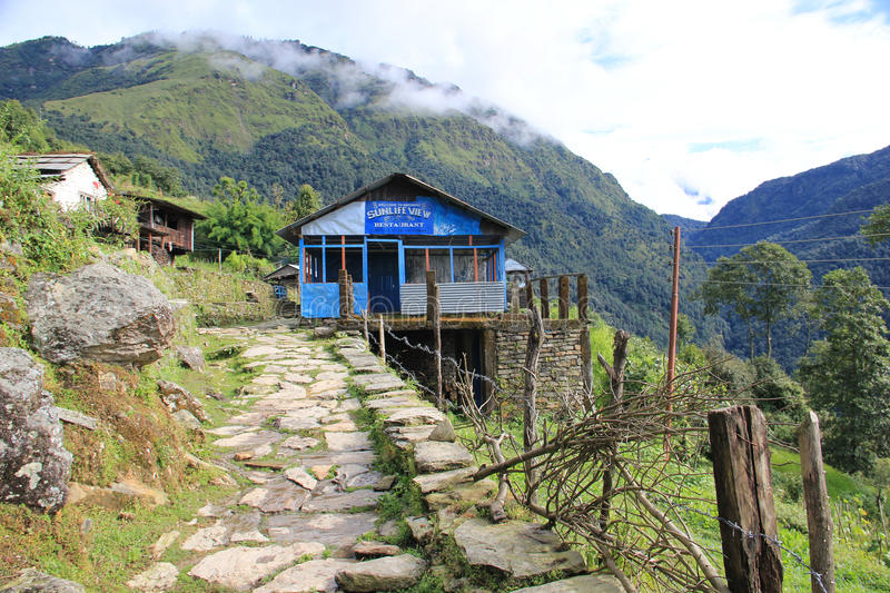 Guest house near Ghorepani, Nepal. Guest house on the tracking route to Ghorepani, Nepal. Ghorepani is a village in Myagdi District in the Dhawalagiri Zone of stock photos