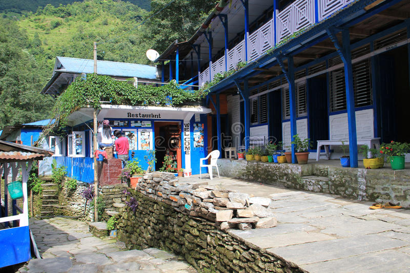 Guest house near Ghorepani, Nepal. Guest house on the tracking route to Ghorepani, Nepal. Ghorepani is a village in Myagdi District in the Dhawalagiri Zone of stock image