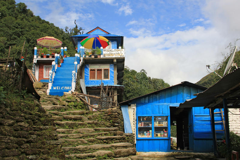 Guest house near Ghorepani, Nepal. Guest house on the tracking route to Ghorepani, Nepal. Ghorepani is a village in Myagdi District in the Dhawalagiri Zone of royalty free stock photography