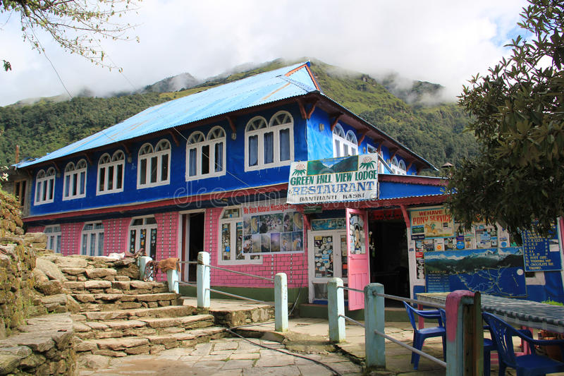 Guest house near Ghorepani, Nepal. Guest house on the tracking route to Ghorepani, Nepal. Ghorepani is a village in Myagdi District in the Dhawalagiri Zone of royalty free stock photos