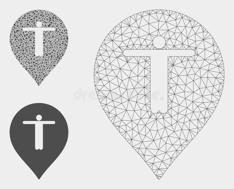Guest Marker Vector Mesh Network Model and Triangle Mosaic Icon. Mesh guest marker model with triangle mosaic icon. Wire carcass polygonal mesh of guest marker royalty free illustration
