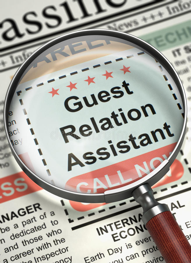 Guest Relation Assistant Hiring Now. 3D. Guest Relation Assistant - Close Up View Of A Classifieds Through Loupe. Column in the Newspaper with the Vacancy of stock illustration