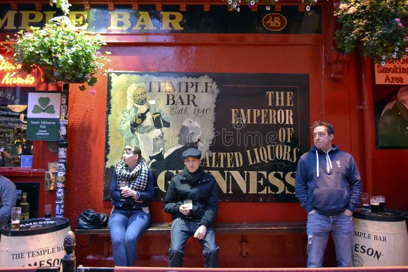 Guests in front of famous Dublin pub stock image
