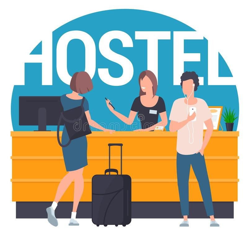 Guests at hostel lobby. Pair of young travellers standing at reception lobby desk talking to receptionist. Guests with travel bag at hostel lobby. Flat design vector illustration