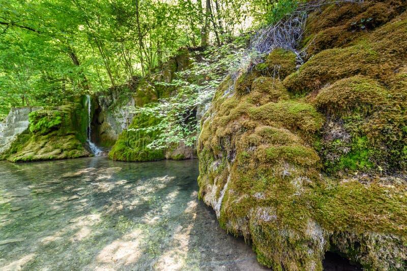 Guetersteiner Waterfall of Bad Urach, Swabian Alb, Baden-Wuerttemberg, Germany, Europe stock images