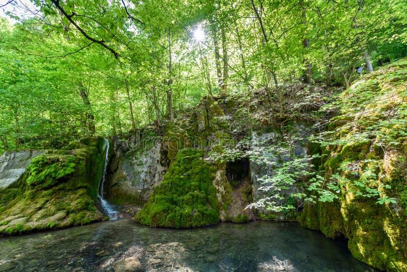 Guetersteiner Waterfall of Bad Urach, Swabian Alb, Baden-Wuerttemberg, Germany, Europe royalty free stock photography