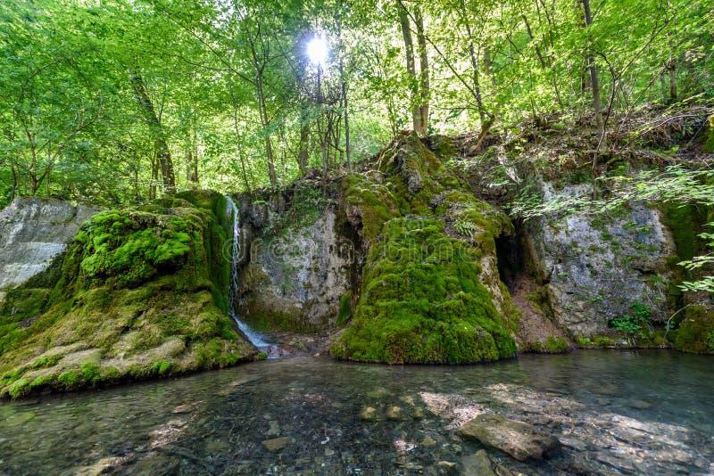 Guetersteiner Waterfall of Bad Urach, Swabian Alb, Baden-Wuerttemberg, Germany, Europe royalty free stock photo