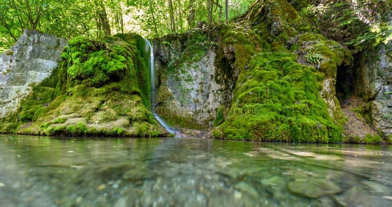 Guetersteiner Waterfall of Bad Urach, Swabian Alb, Baden-Wuerttemberg, Germany, Europe stock image