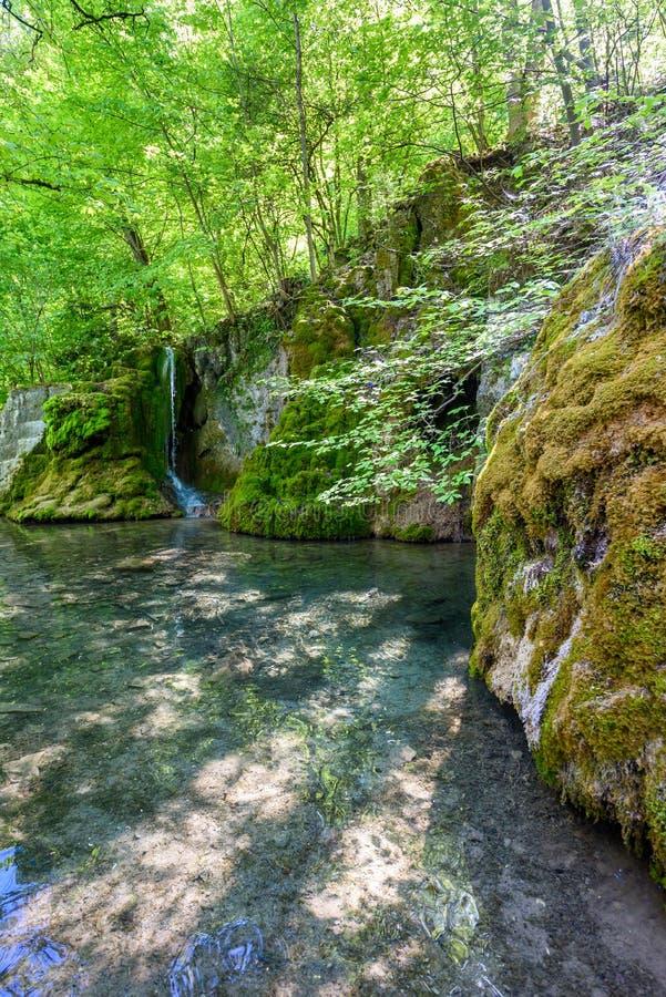Guetersteiner Waterfall of Bad Urach, Swabian Alb, Baden-Wuerttemberg, Germany, Europe stock photography