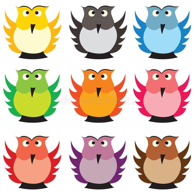 Gufi colorati illustrazione di stock