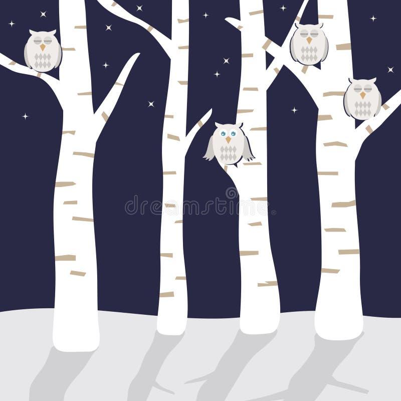 Gufi dello Snowy royalty illustrazione gratis