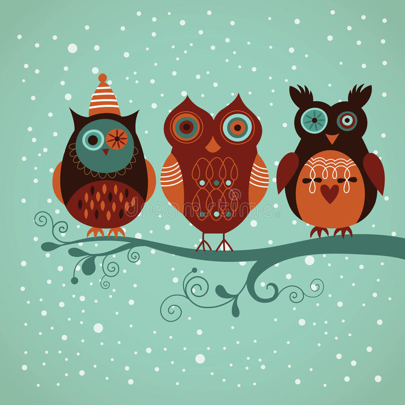 Gufi di inverno illustrazione di stock