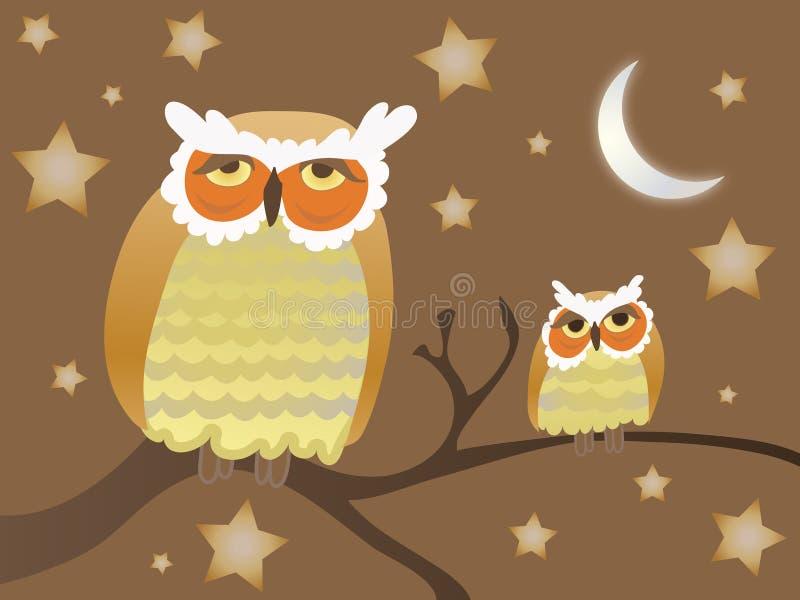Gufi di notte illustrazione di stock