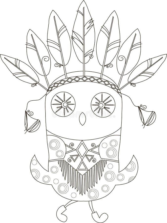 gufo bianco Nero con gioielli indiani etnici per la pagina di coloritura, anti sforzo, vettore illustrazione di stock