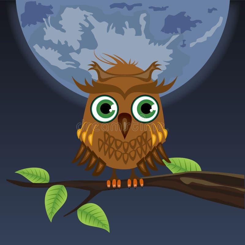 Gufo che si siede su un albero nella luna royalty illustrazione gratis