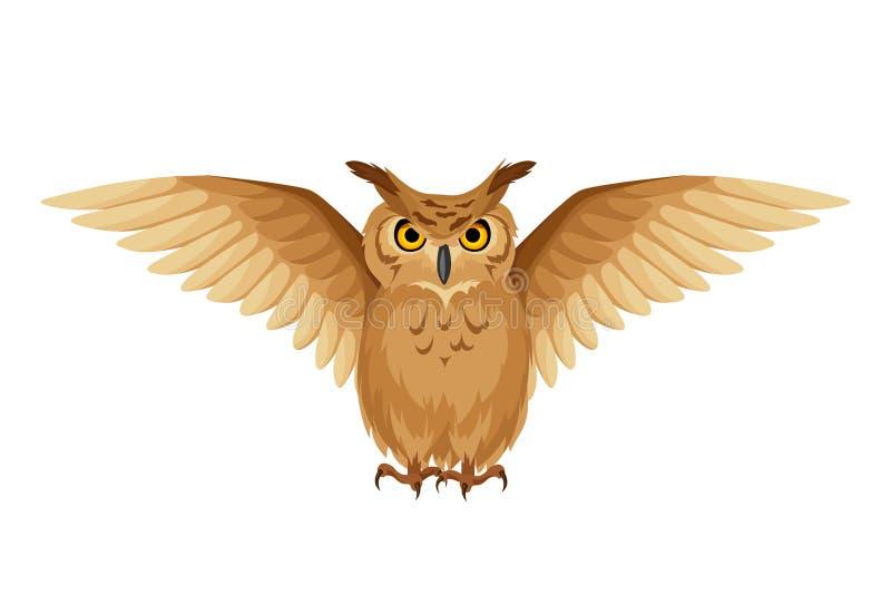 Gufo di Brown con le ali aperte Illustrazione di vettore illustrazione di stock