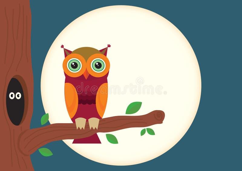 Gufo di notte con l'albero e la luna royalty illustrazione gratis