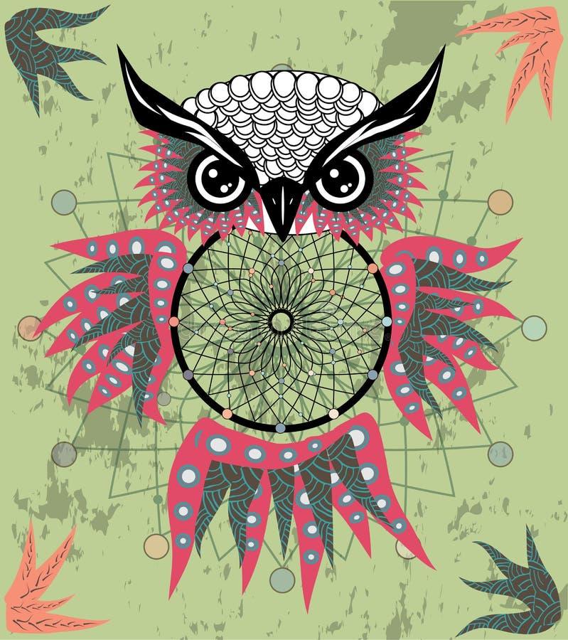 Gufo di sogno decorativo indiano del collettore nello stile grafico Illustrazione fotografie stock