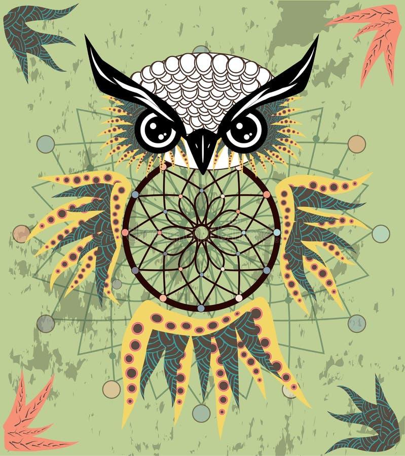 Gufo di sogno decorativo indiano del collettore nello stile grafico Illustrazione immagine stock